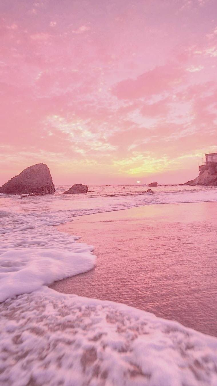 Sunset With Pastel Pink Yellow Vibes 90s Retro Iphone 7 Pink Beach 2188023 Hd Wallpaper Backgrounds Download