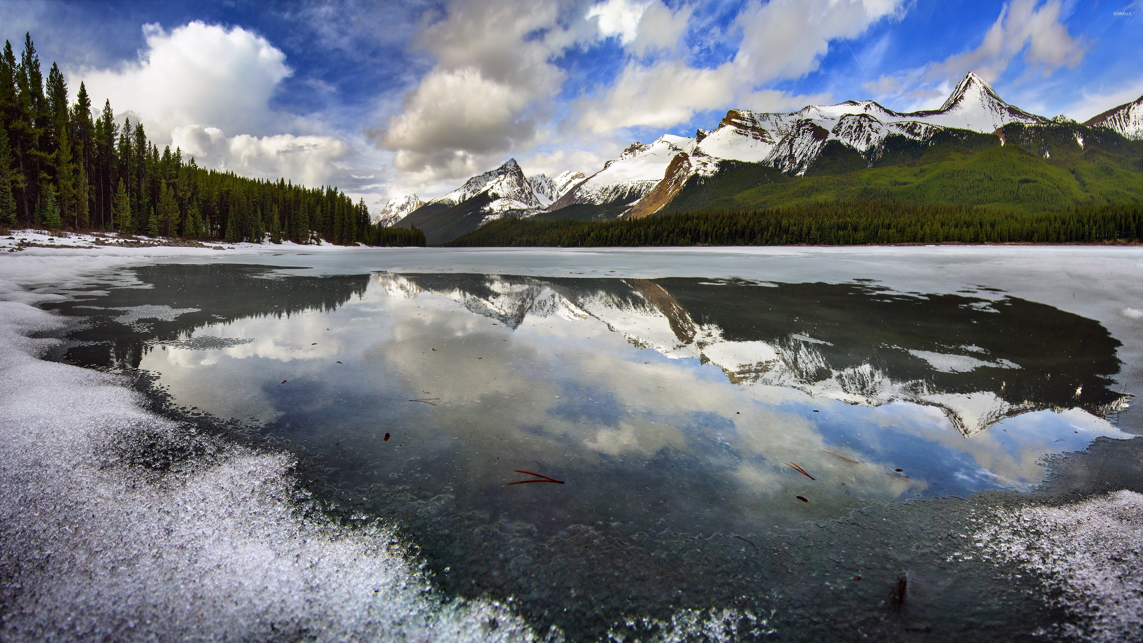 Frozen Mountain Lake Wallpaper - Nature Landscape Oil Painting For Sale , HD Wallpaper & Backgrounds