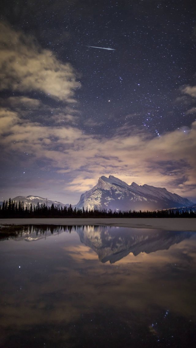 Night Skyview Meteor Mountain Lake Reflection Iphone