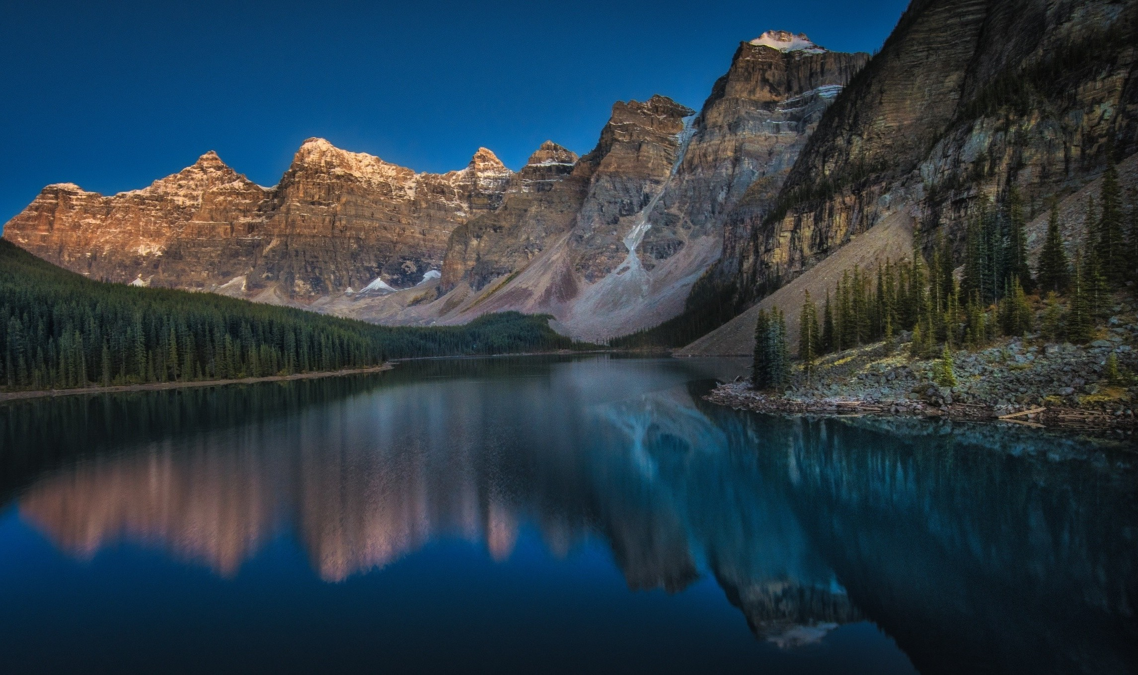 Mountain, Moraine Lake, Canada, Sunset, Forest, Summer, - Blue Mountains Canada Summer Sunset , HD Wallpaper & Backgrounds