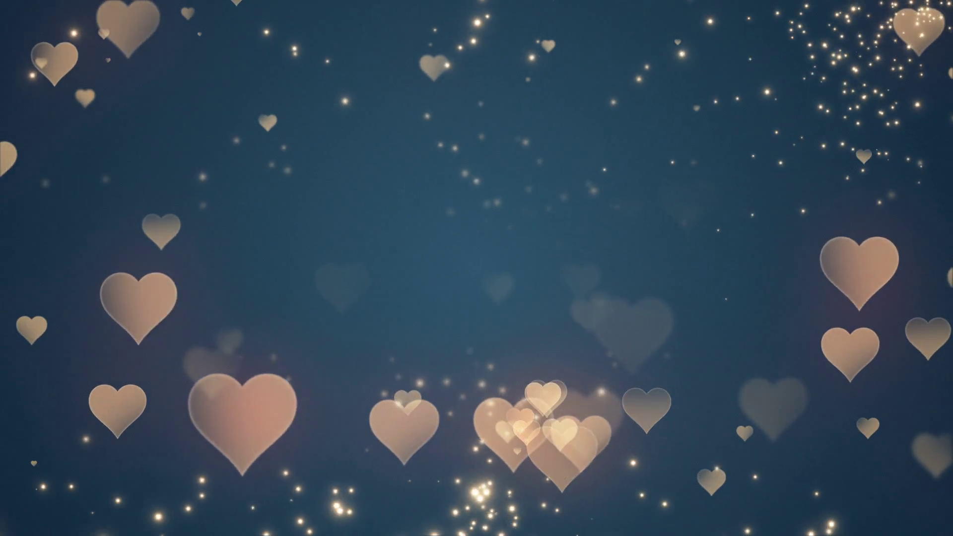 Floating Little Hearts Glowing Twinkling Sparkling - Gold Blue Hearts Background , HD Wallpaper & Backgrounds