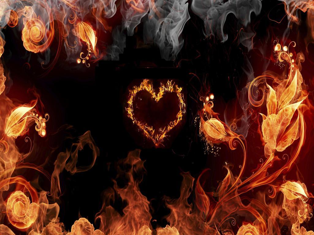 Fire Heart Wallpaper - Black And Fire , HD Wallpaper & Backgrounds
