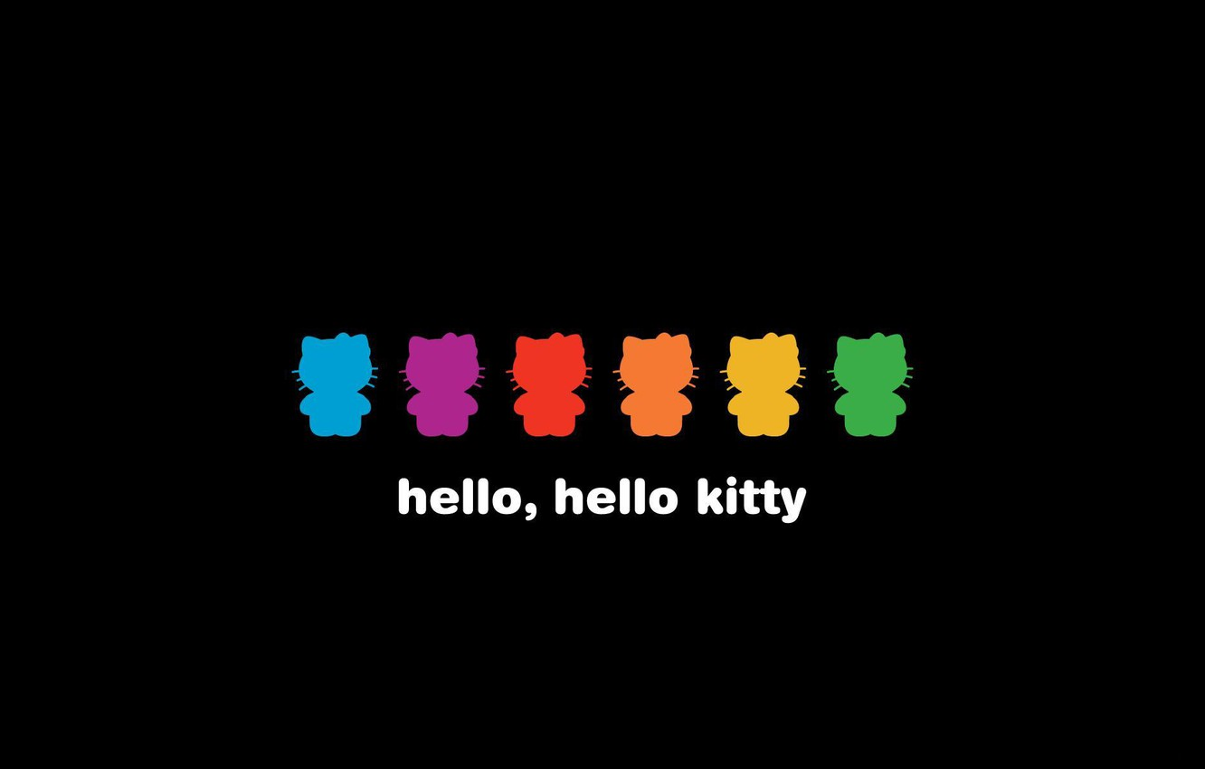 Photo Wallpaper Color Black Background Hello Kitty