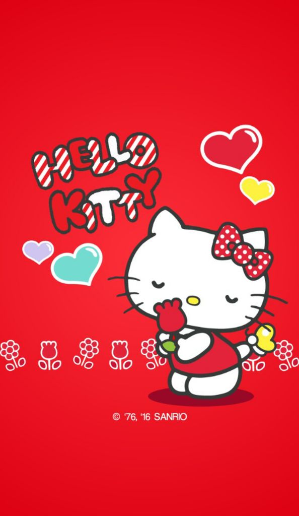 Wallpaper Hello Kitty Merah