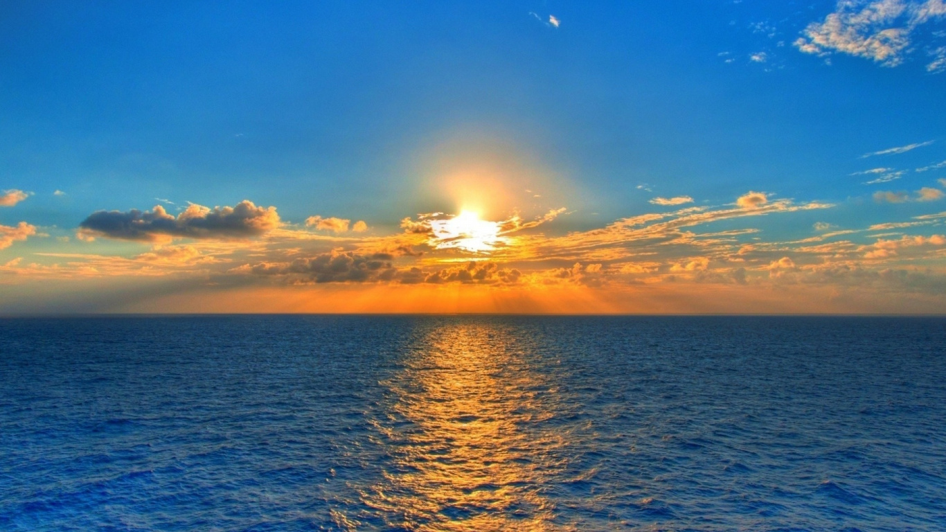 Wallpaper Sea Sunset Clouds Sky Sun La Mer Au Coucher