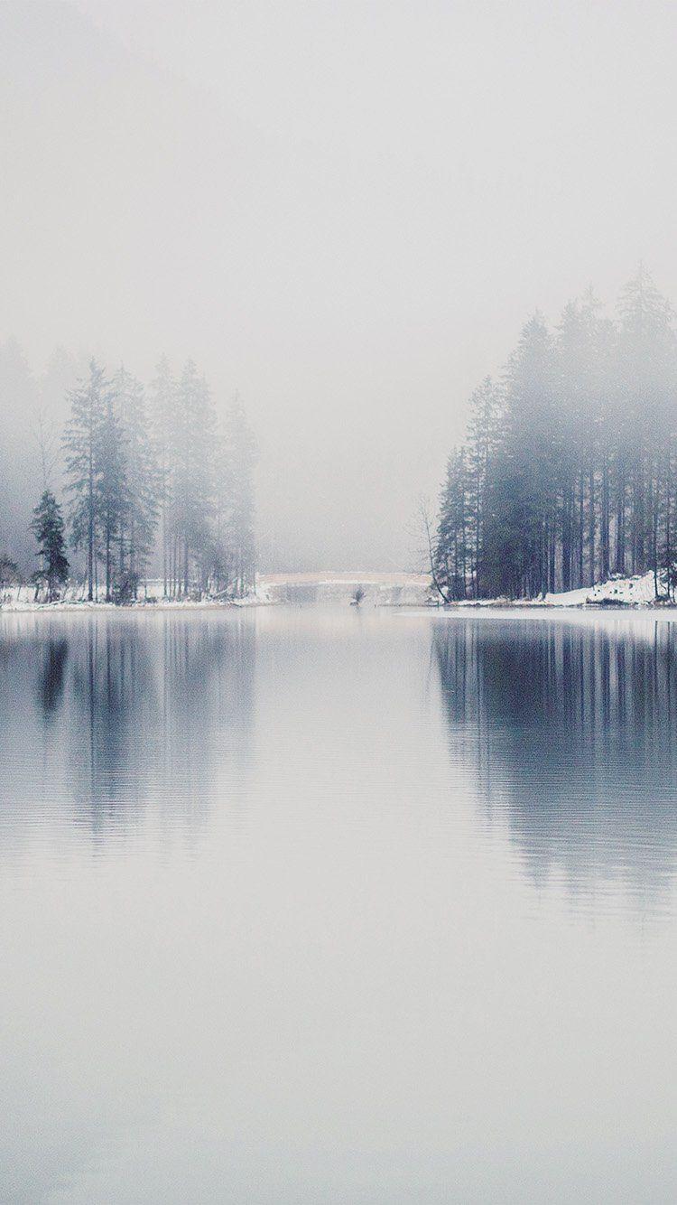 Winter Lake White Blue Wood Nature Fog Wallpaper Hd Iphone
