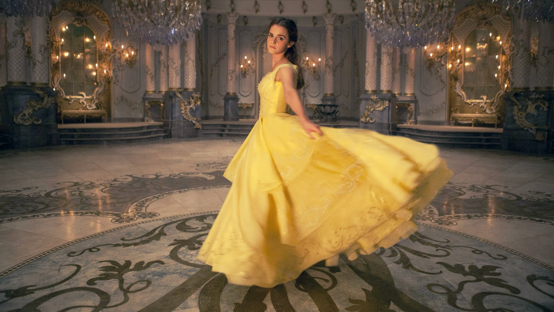 Emma Watson Beauty And The Beast Yellow Dress Wallpaper