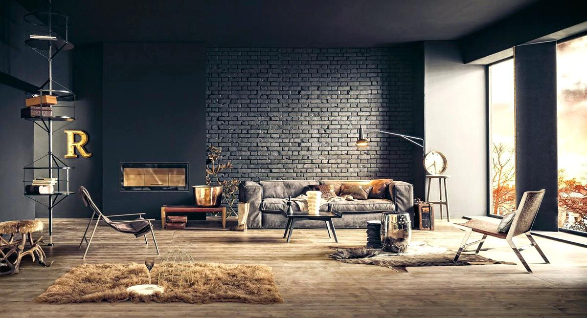 Industrial Wall Industrial Decorating Ideas For Walls - Industrial Interior Living Room , HD Wallpaper & Backgrounds