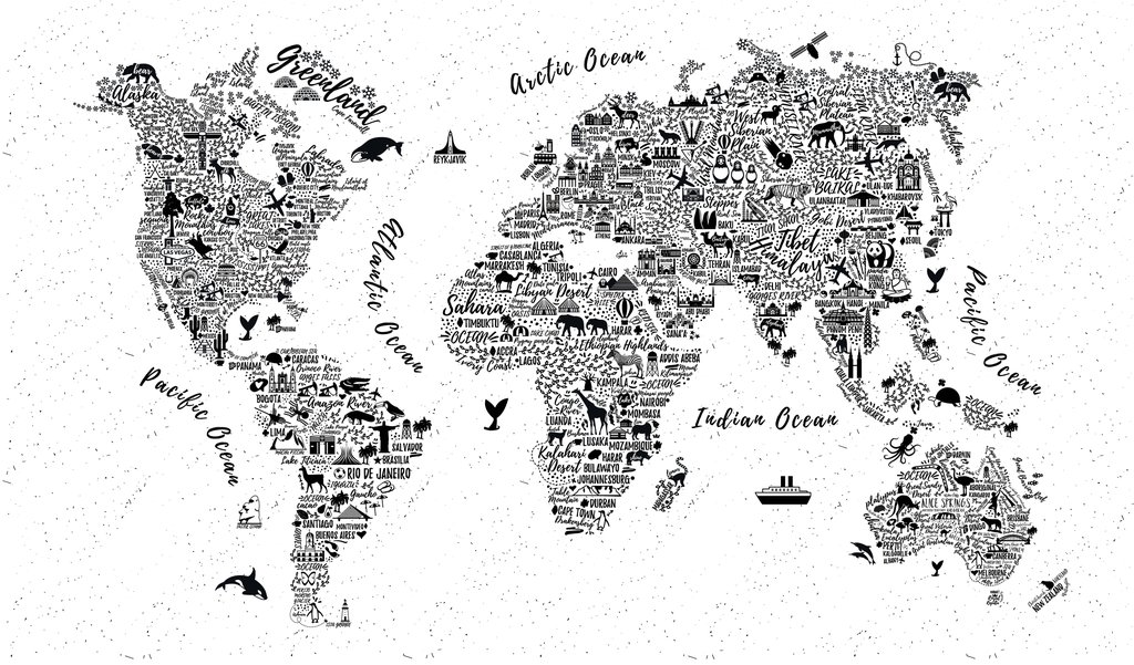 World Map Design Wallpaper Black And White , HD Wallpaper & Backgrounds