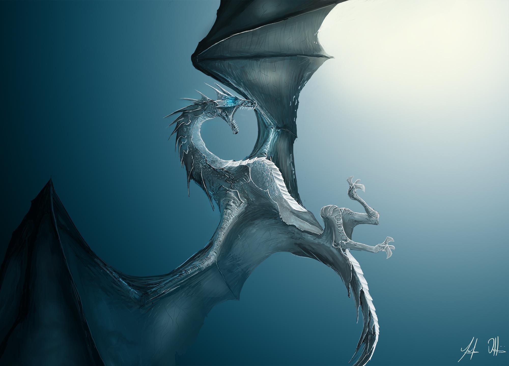 Realistic Flying Ice Dragon 2295850 Hd Wallpaper