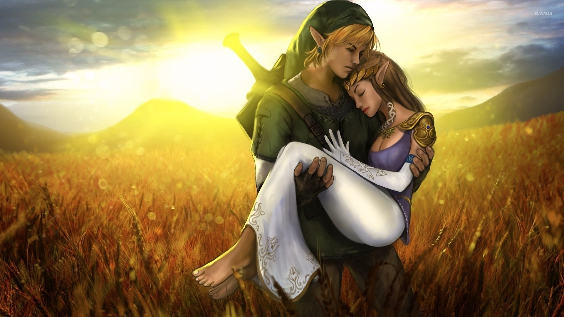 The Legend Of Zelda Boy With Girl Love Wallpaper Link And