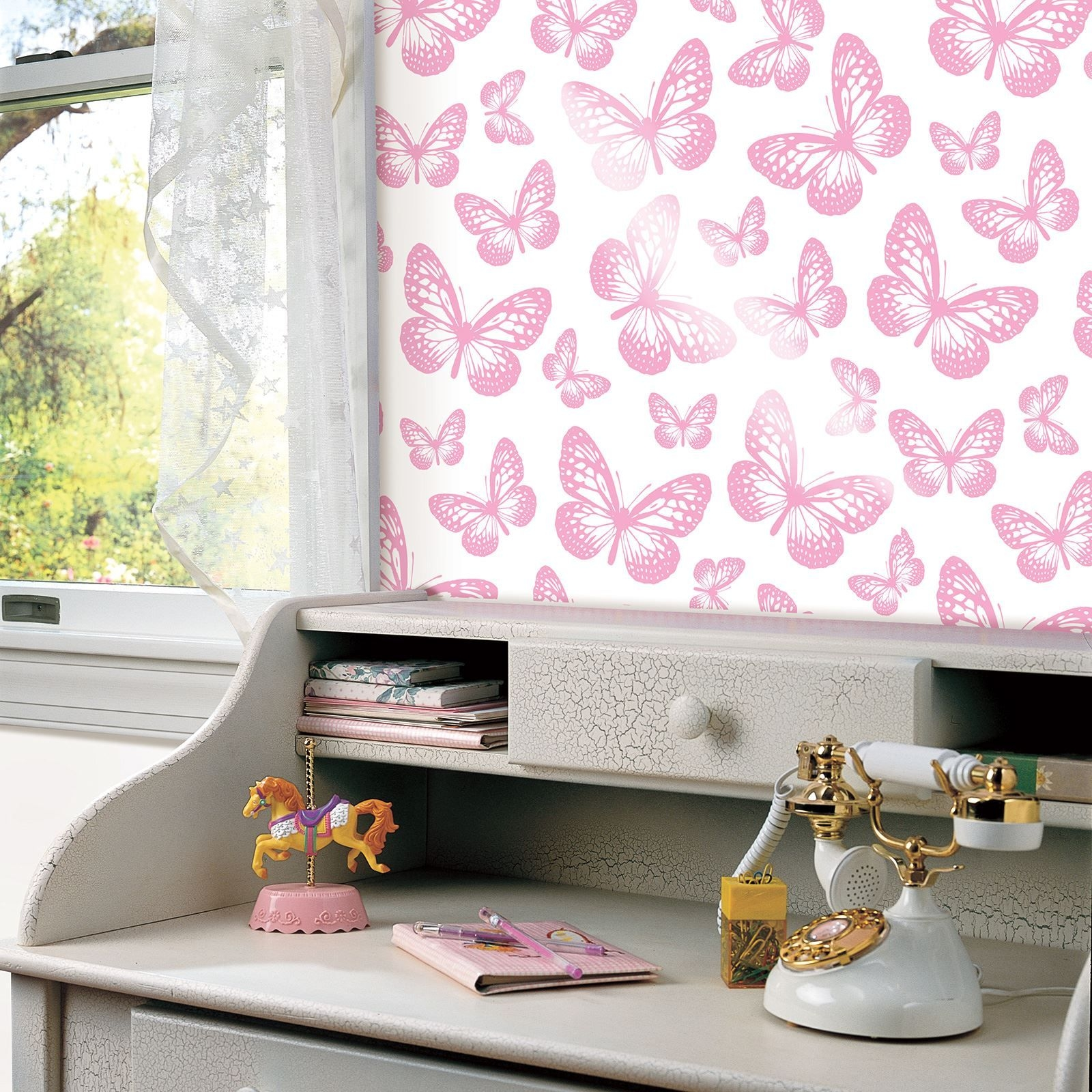 Butterfly Wallpaper Girls Bedroom Decor Pink White - Butterfly Wallpaper For Bedroom , HD Wallpaper & Backgrounds