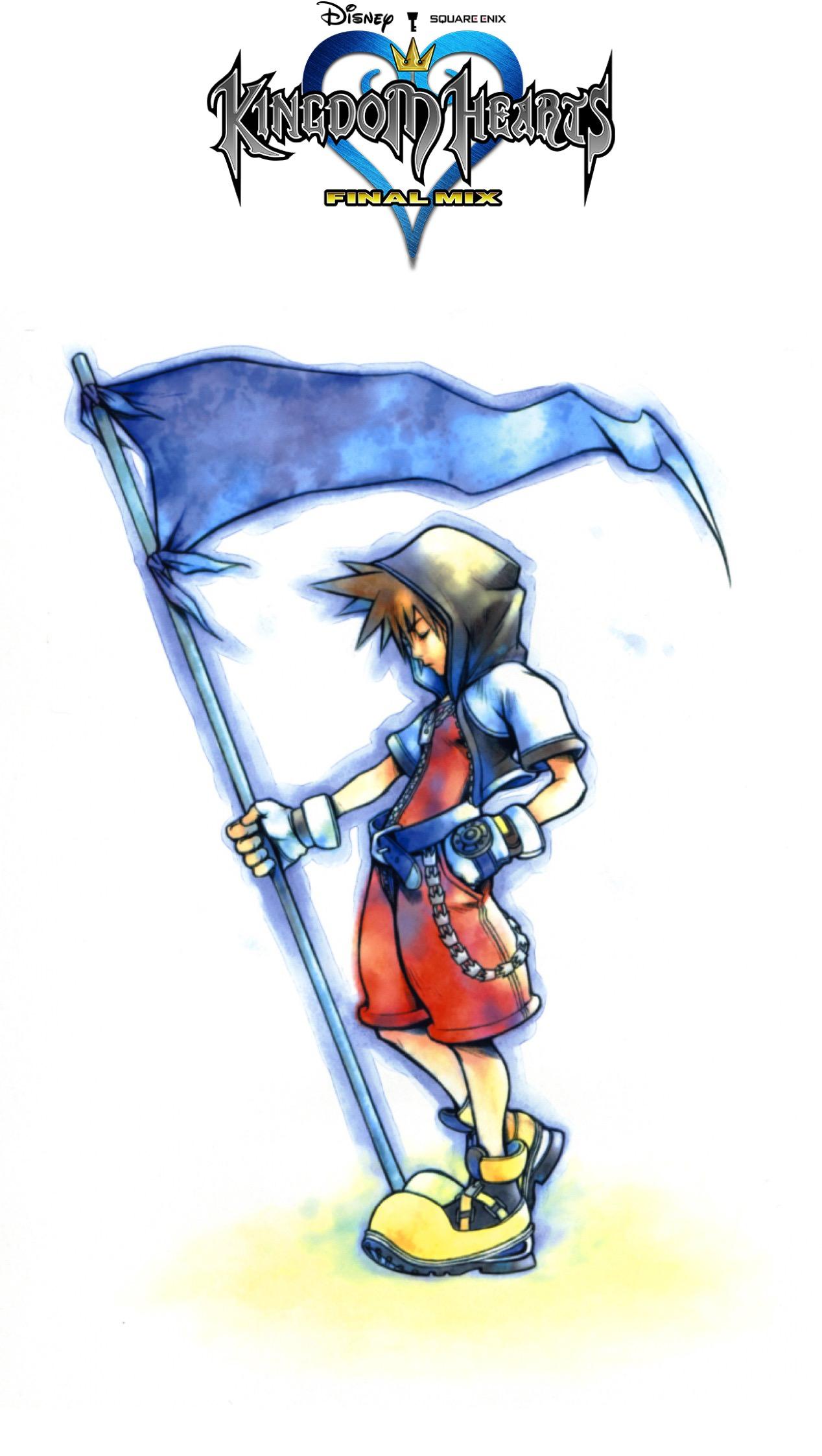 Kingdom Hearts Final Mix - Kingdom Hearts Sora Holding Flag , HD Wallpaper & Backgrounds