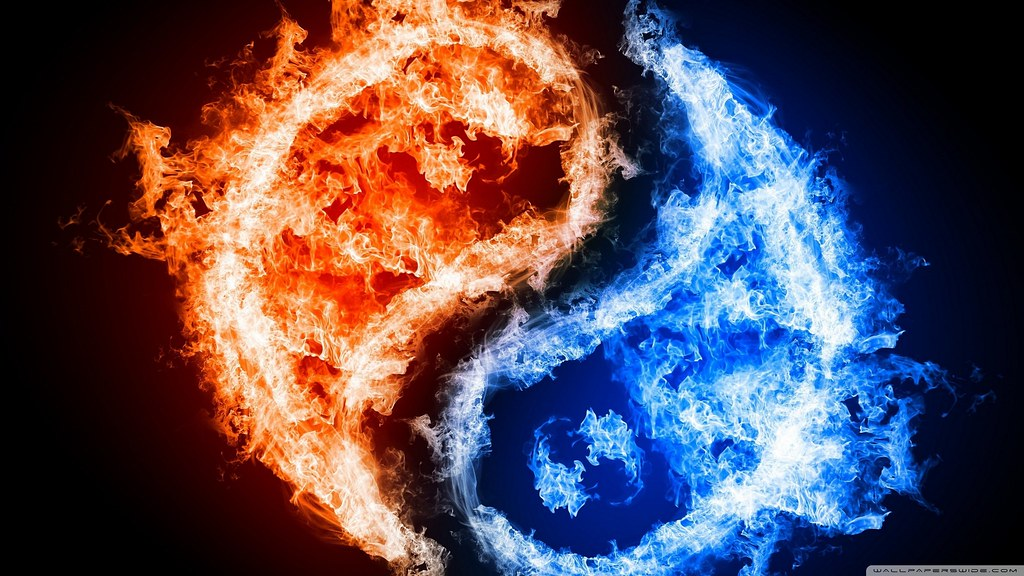 Fire And Blue Fire , HD Wallpaper & Backgrounds