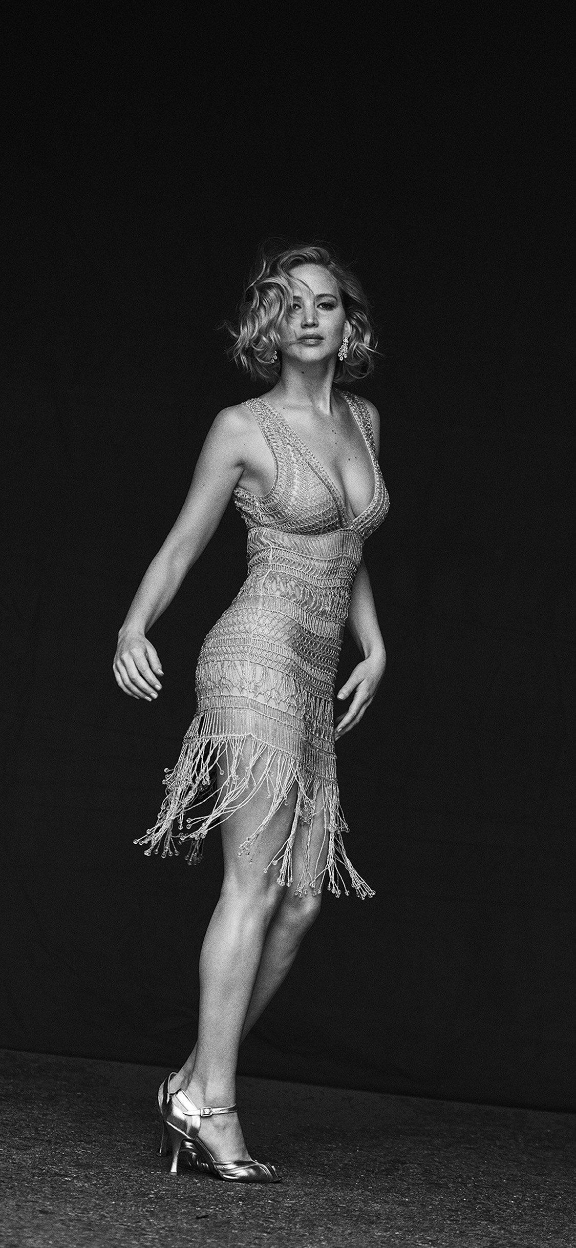 Jennifer Lawrence Shoot Black And White , HD Wallpaper & Backgrounds