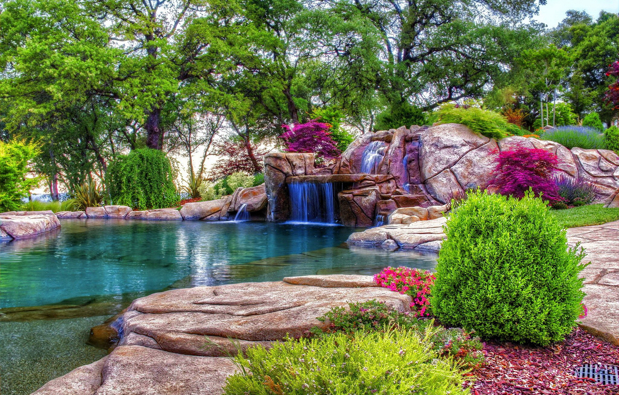 Beautiful Flower Gardens Waterfalls , HD Wallpaper & Backgrounds
