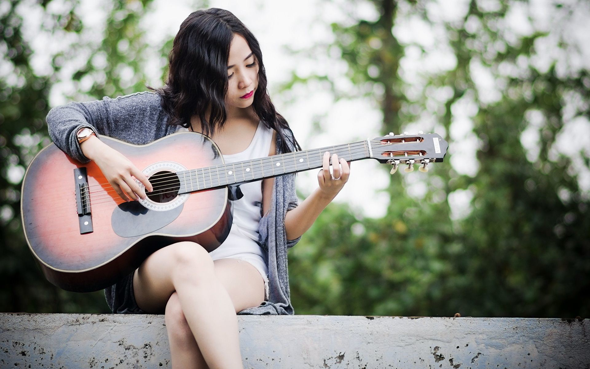 Asian Girl With Guitar , HD Wallpaper & Backgrounds