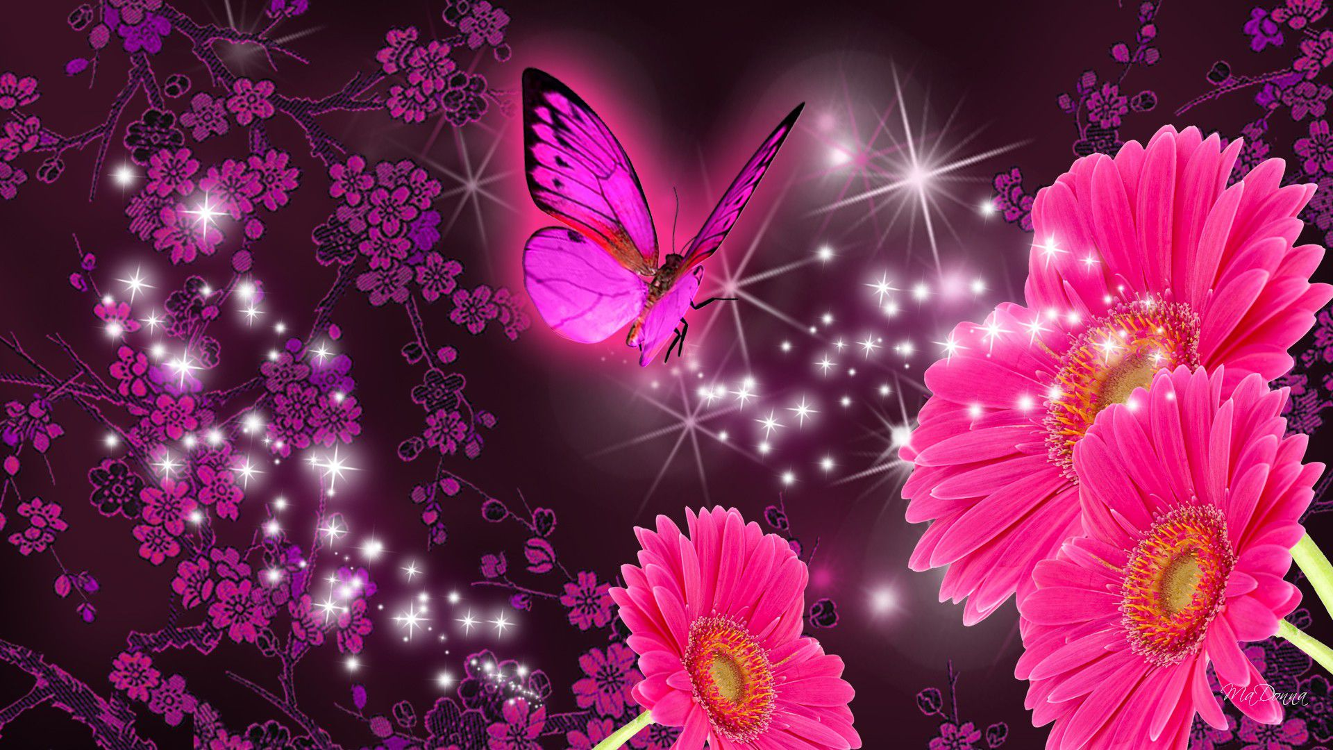 Pink Butterfly Flower Wallpaper Iphone - Pink Flowers And Butterflies , HD Wallpaper & Backgrounds
