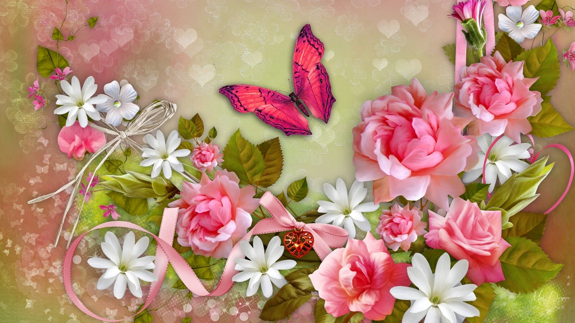 Wallpapers Id - - Beautiful Butterfly And Flower , HD Wallpaper & Backgrounds