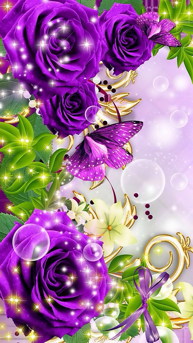 Purple Flowers With Sparkles - Beautiful Scenery Flowers Wallpapers For Mobile , HD Wallpaper & Backgrounds