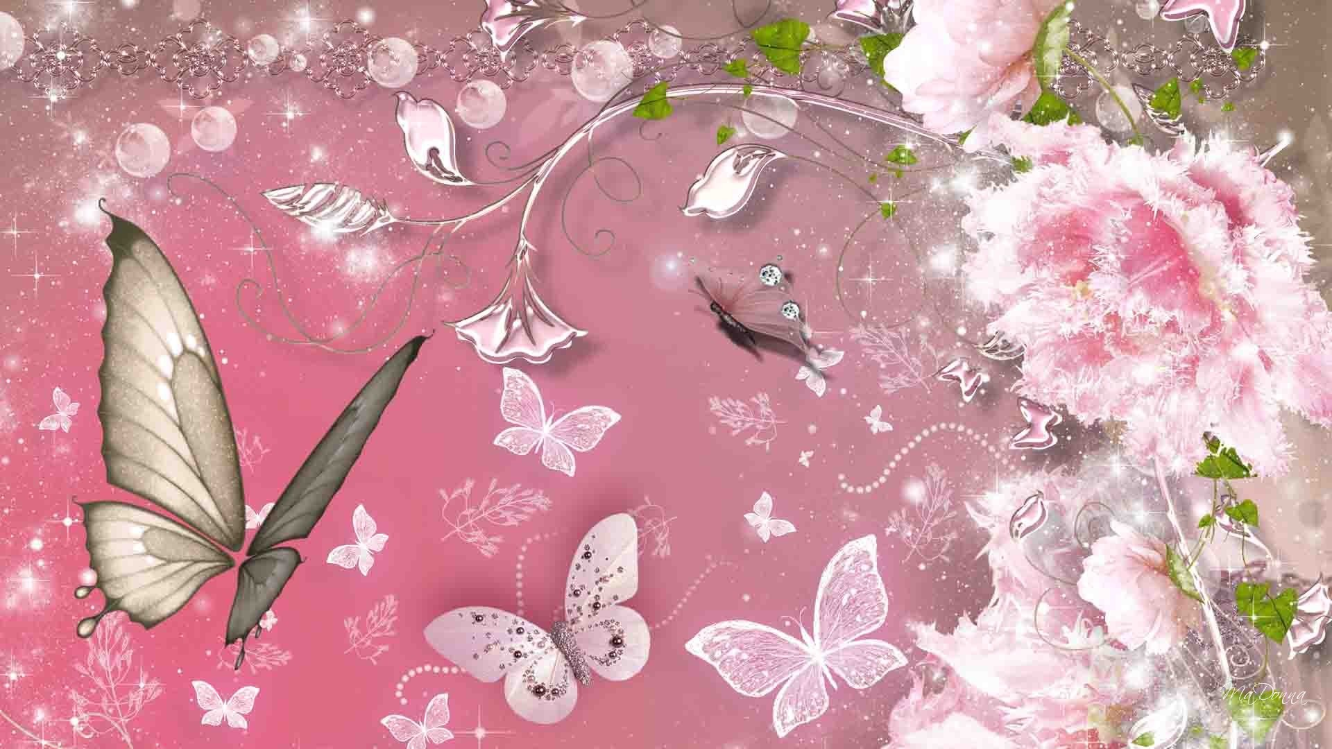 Free Desktop Pictures Of Flowers And Butterflies Butterfly - Pink Summer Flower Theme , HD Wallpaper & Backgrounds