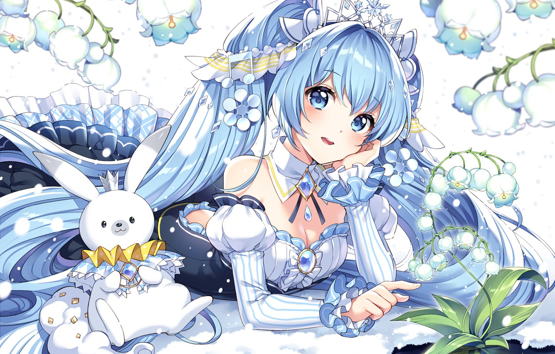 Photo Wallpaper Flowers Animal Hatsune Miku Vocaloid 初音