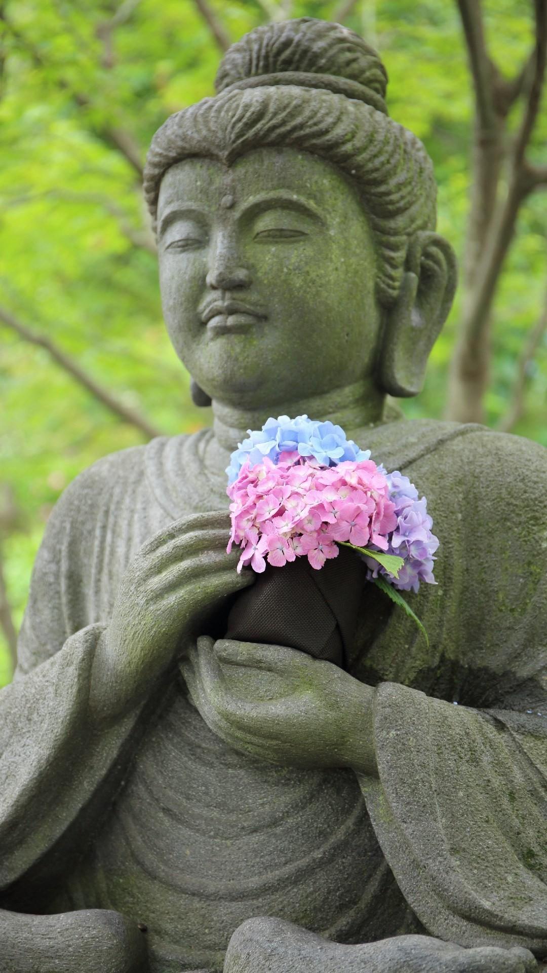 1080x1920, Buddha With Flowers Phone Wallpaper Lockscreen - Wallpaper , HD Wallpaper & Backgrounds