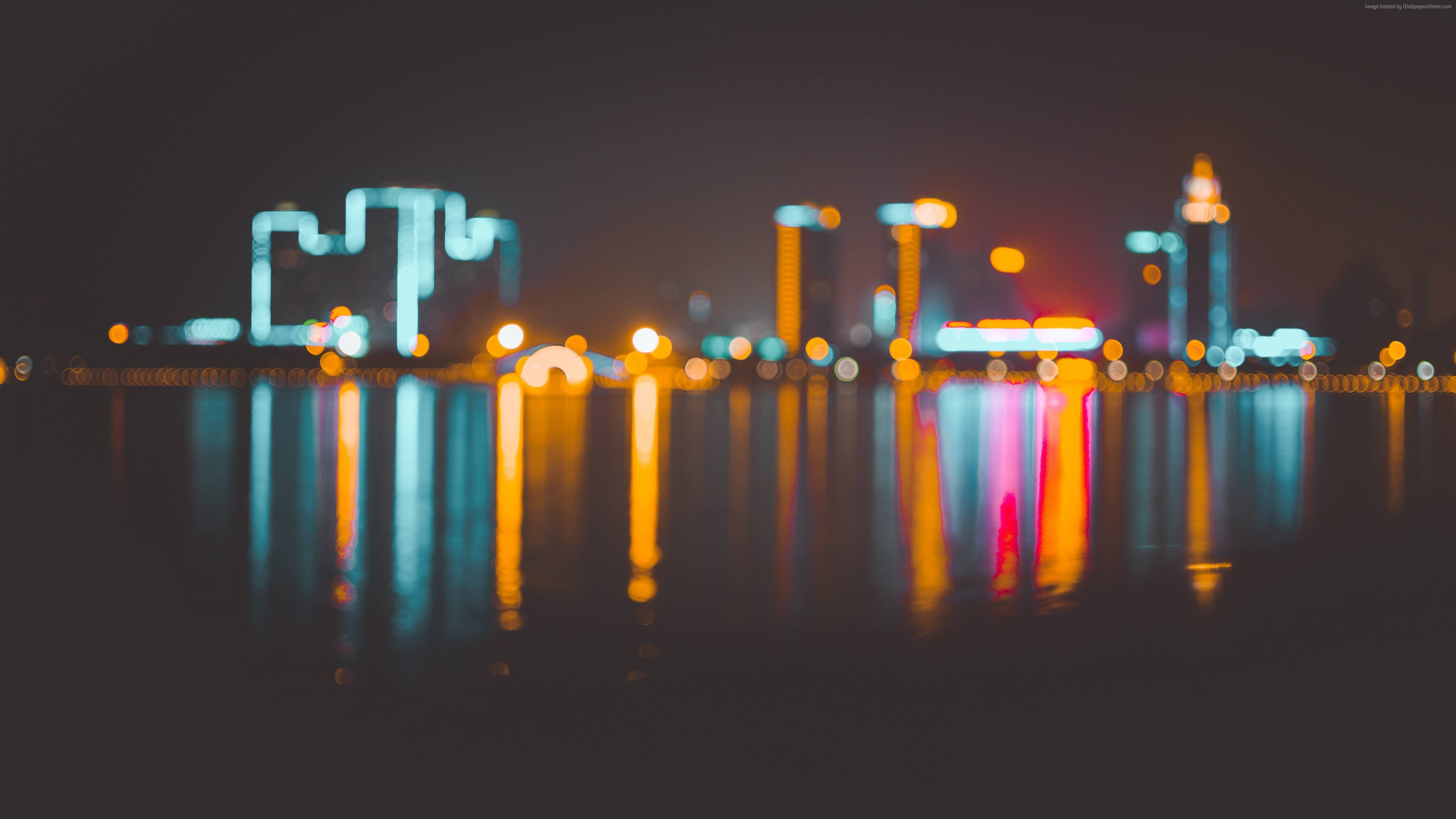 Wallpaper Blur, Bokeh, City, Night, 4k, 6k, Architecture - City Photo Lights Blur , HD Wallpaper & Backgrounds