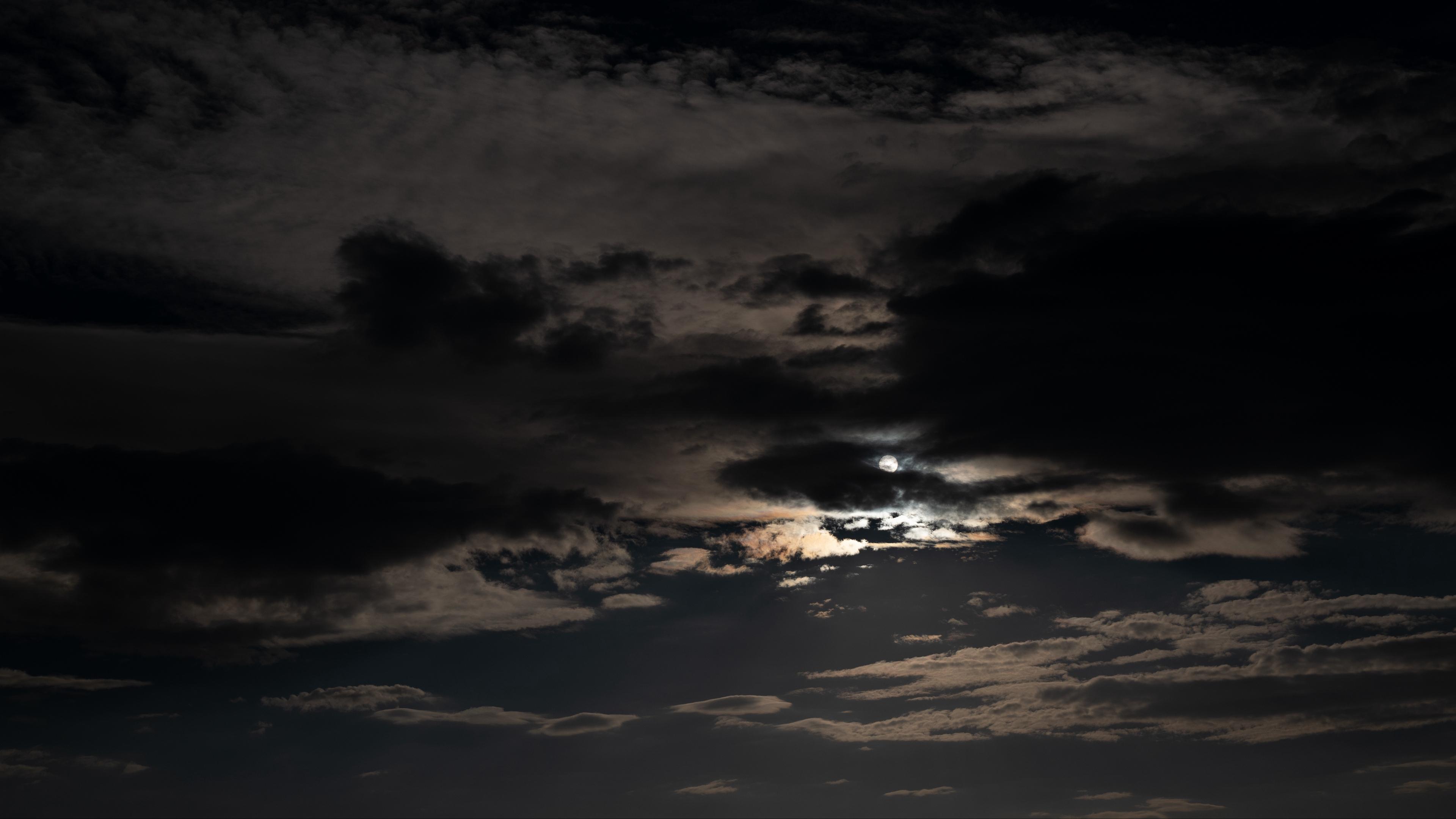 Wallpaper Sky, Clouds, Night, Moon, Dark, Night Sky - Dark Night Sky Clouds , HD Wallpaper & Backgrounds