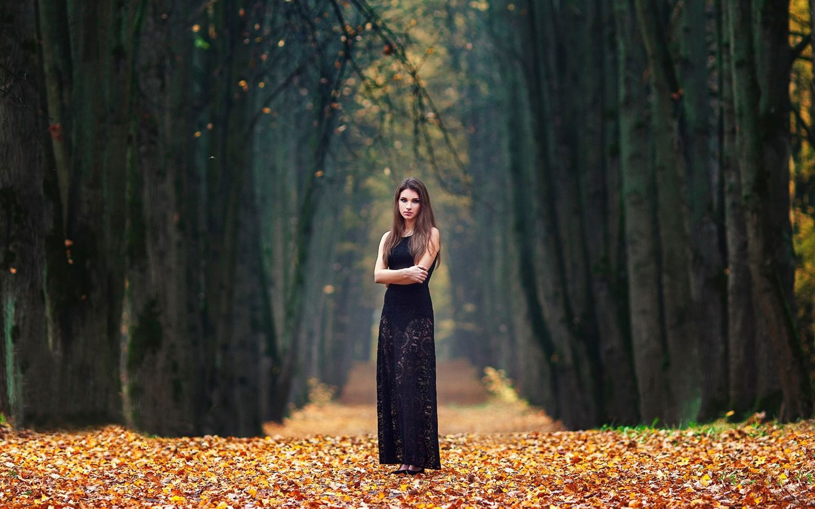 Nature Woman Girl Model Beautiful Young Outdoors Forest - Beautiful Nature With Girl , HD Wallpaper & Backgrounds