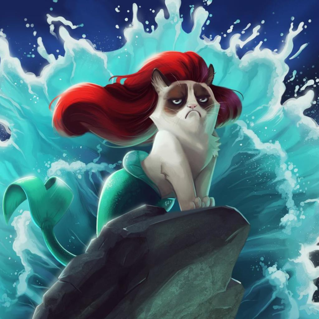 Grumpy Cat Little Mermaid Wallpaper For Ipad Grumpy Cat Ariel