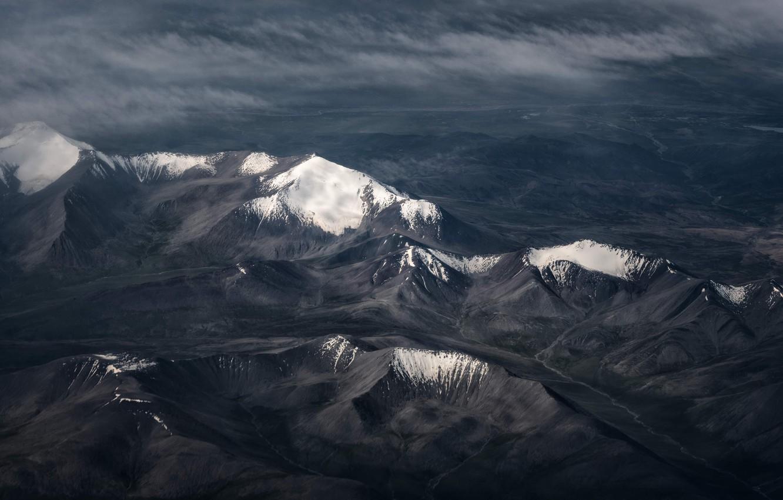 Photo Wallpaper Dark, Wallpaper, Nature, Mountains, - Mountain Aerial View , HD Wallpaper & Backgrounds