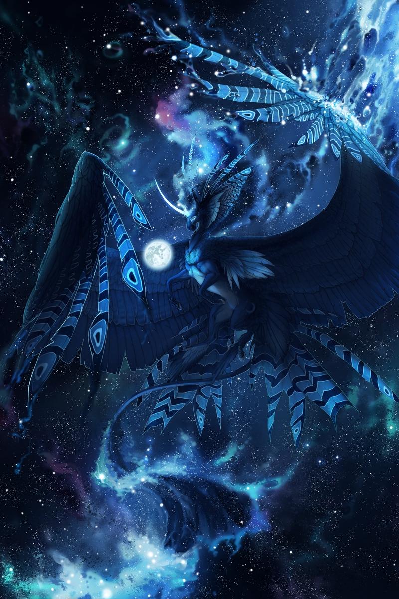Wallpaper Creature Mystical Fantastic Flight Blue Mystical Galaxy Wolf Background 2480393 Hd Wallpaper Backgrounds Download