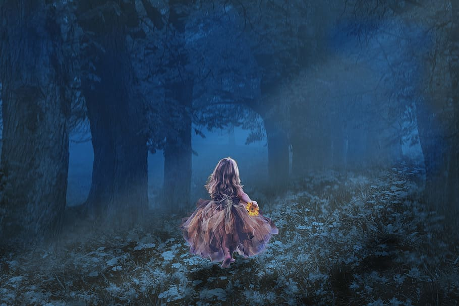 Girl, Running, Dark, Forest Wallpaper, Little Kid, - Good Night Prayer Wishes , HD Wallpaper & Backgrounds