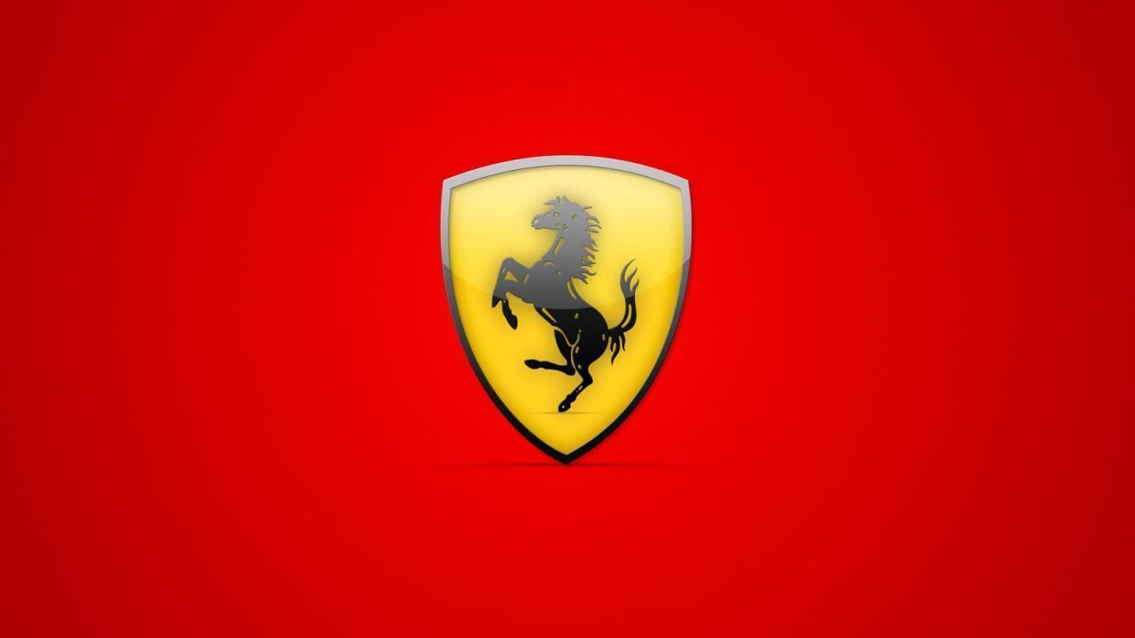 Red Ferrari Logo Background Wallpaper Desktop , Hd Wallpaper