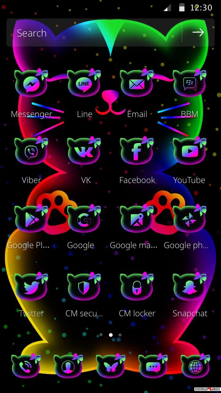 Neon Kitty Glow Launcher Theme Graphic Design
