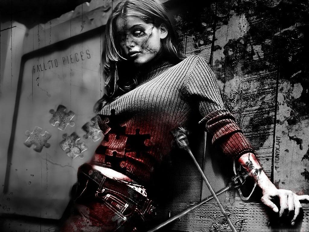 Zombie Girl - Dark Gothic Art (#8) - HD Wallpaper