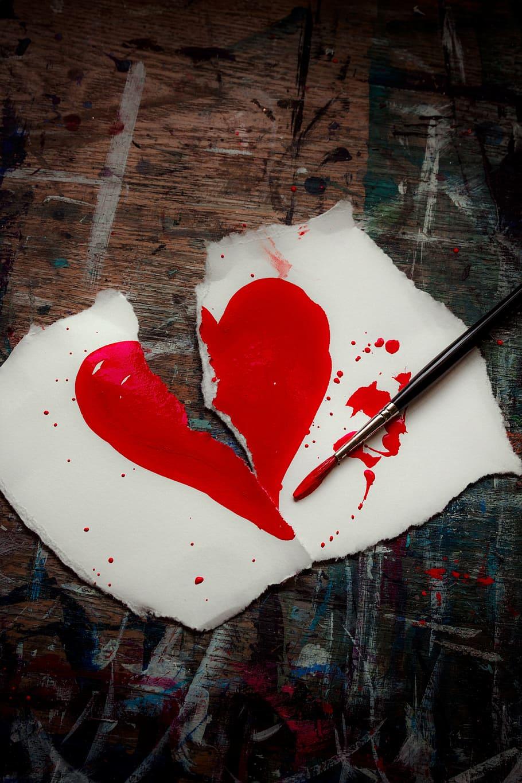 Teared Heart Drawing, Broken Heart, Love, Valentine, - Sad Love Broken Heart , HD Wallpaper & Backgrounds