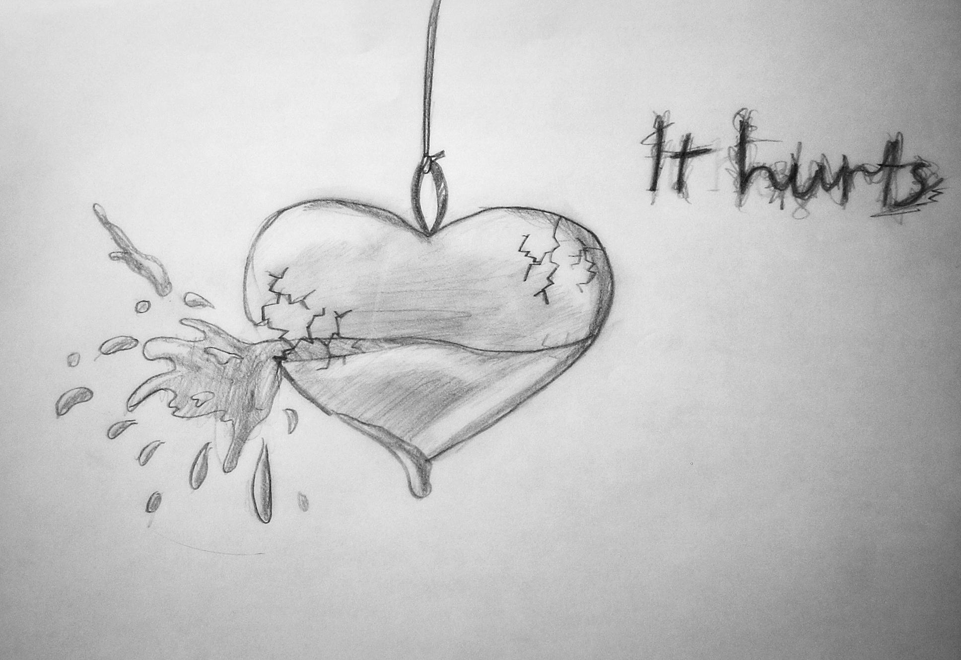 Drawn Broken Heart Sad Heart Broken Girl Drawing 2508661 Hd
