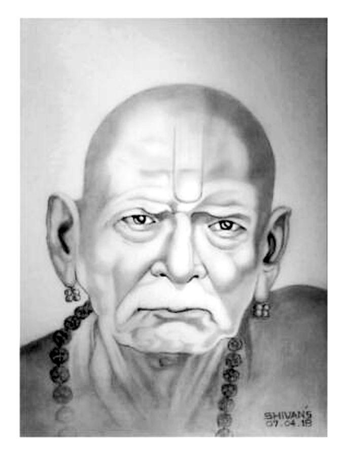 Indian Guru Swami Samarth, 8 X 10 Inch, Shivkumar Menon,8x10inch,drawing - Swami Samarth , HD Wallpaper & Backgrounds