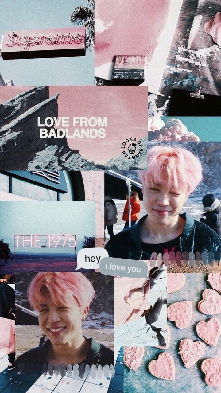 Pink, Wallpaper, And Lockscreen Image - Lockscreen Jimin Collages , HD Wallpaper & Backgrounds