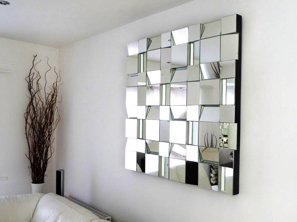 Modern Wall Mirror Design For Living Room , HD Wallpaper & Backgrounds