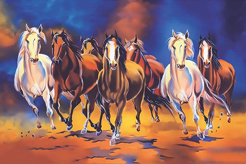 Seven Lucky Running Horses Vastu Wallpapers Fully Waterproof 3d Wallpaper 7 Horse 2535289 Hd Wallpaper Backgrounds Download