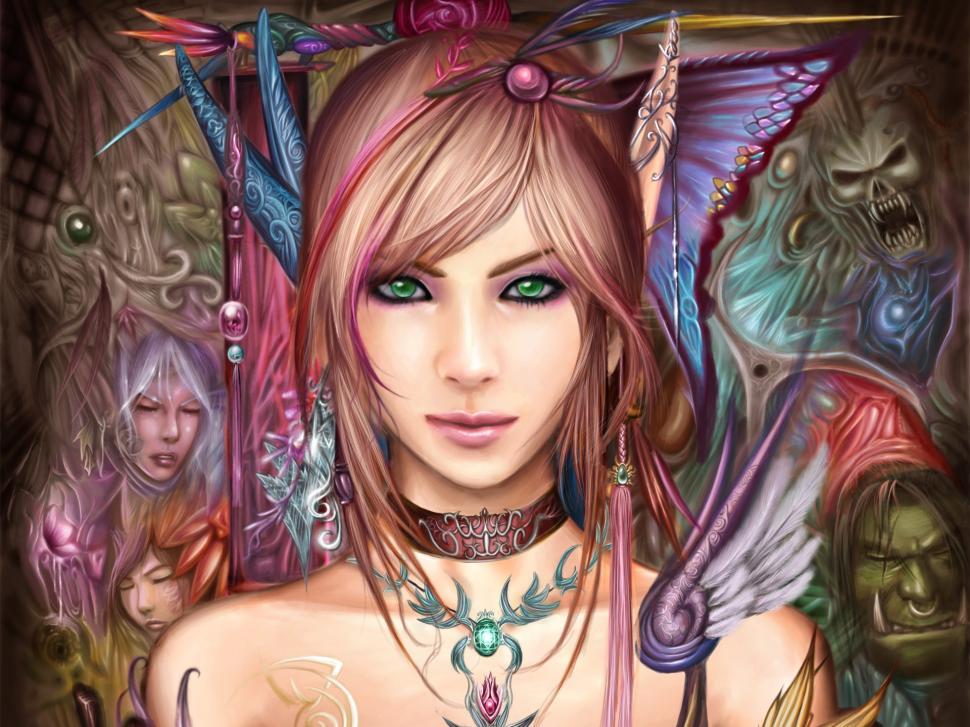 Beautiful Fantasy Girl, Green Eyes, Brown Hair Wallpaper,beautiful - World Of Warcraft Hd Elves , HD Wallpaper & Backgrounds
