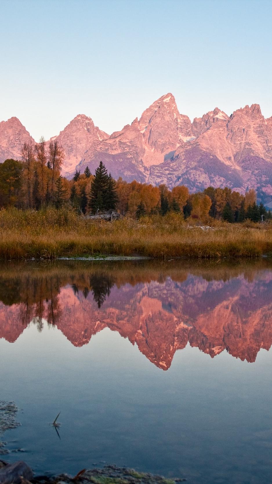 Wallpaper Autumn, Mountains, Reflection, Evening - Grand Teton National Park , HD Wallpaper & Backgrounds