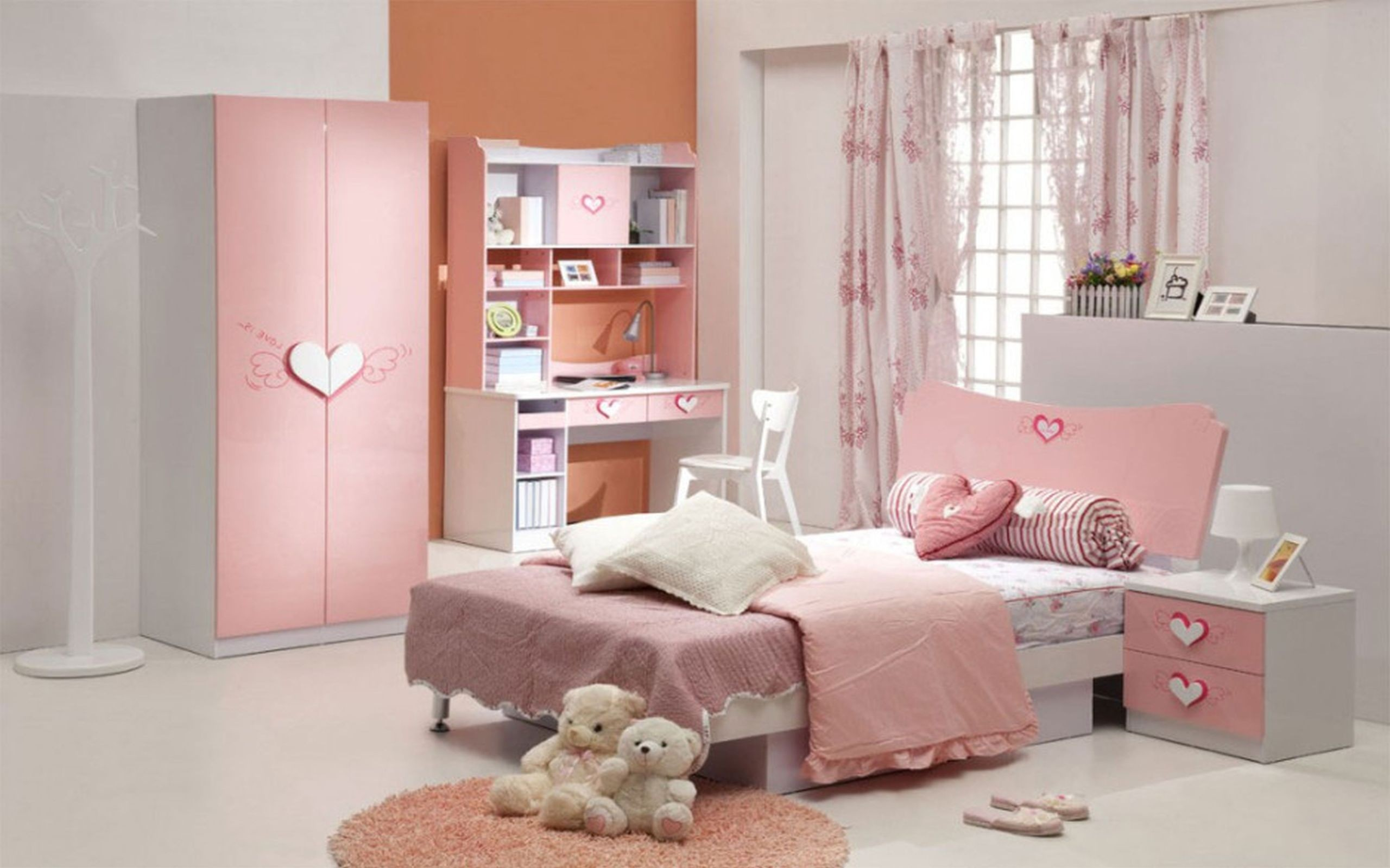 White Bunk Beds Girls Room Wallpaper House Pink And - Teenage Girl Designs For Girls Bedroom , HD Wallpaper & Backgrounds