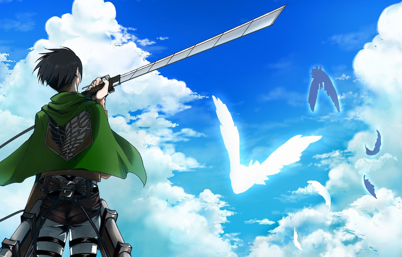 Photo Wallpaper Clouds Guy Attack Of The Titans Iphone Wallpaper Levi Wings Of Freedom Snk 2548075 Hd Wallpaper Backgrounds Download