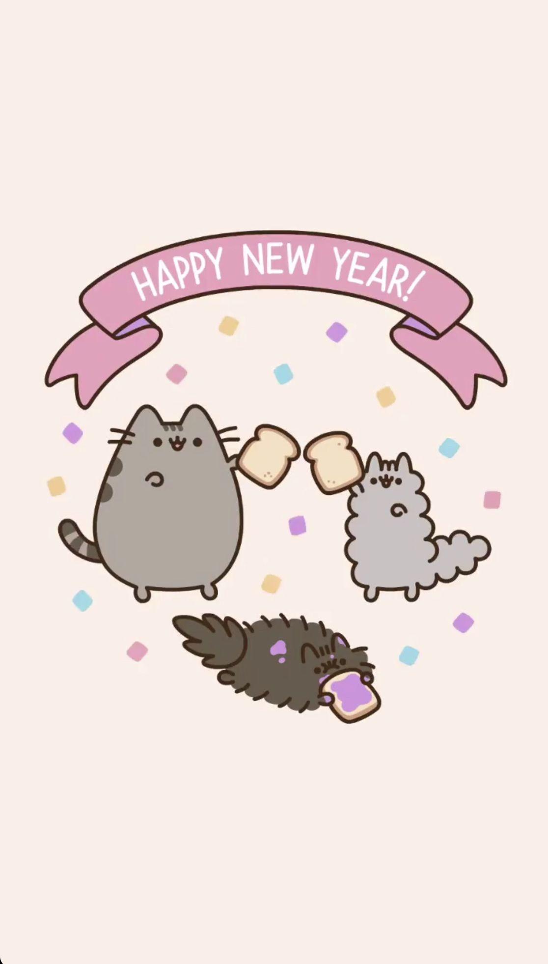 Pusheen Happy New Year 2020 , HD Wallpaper & Backgrounds