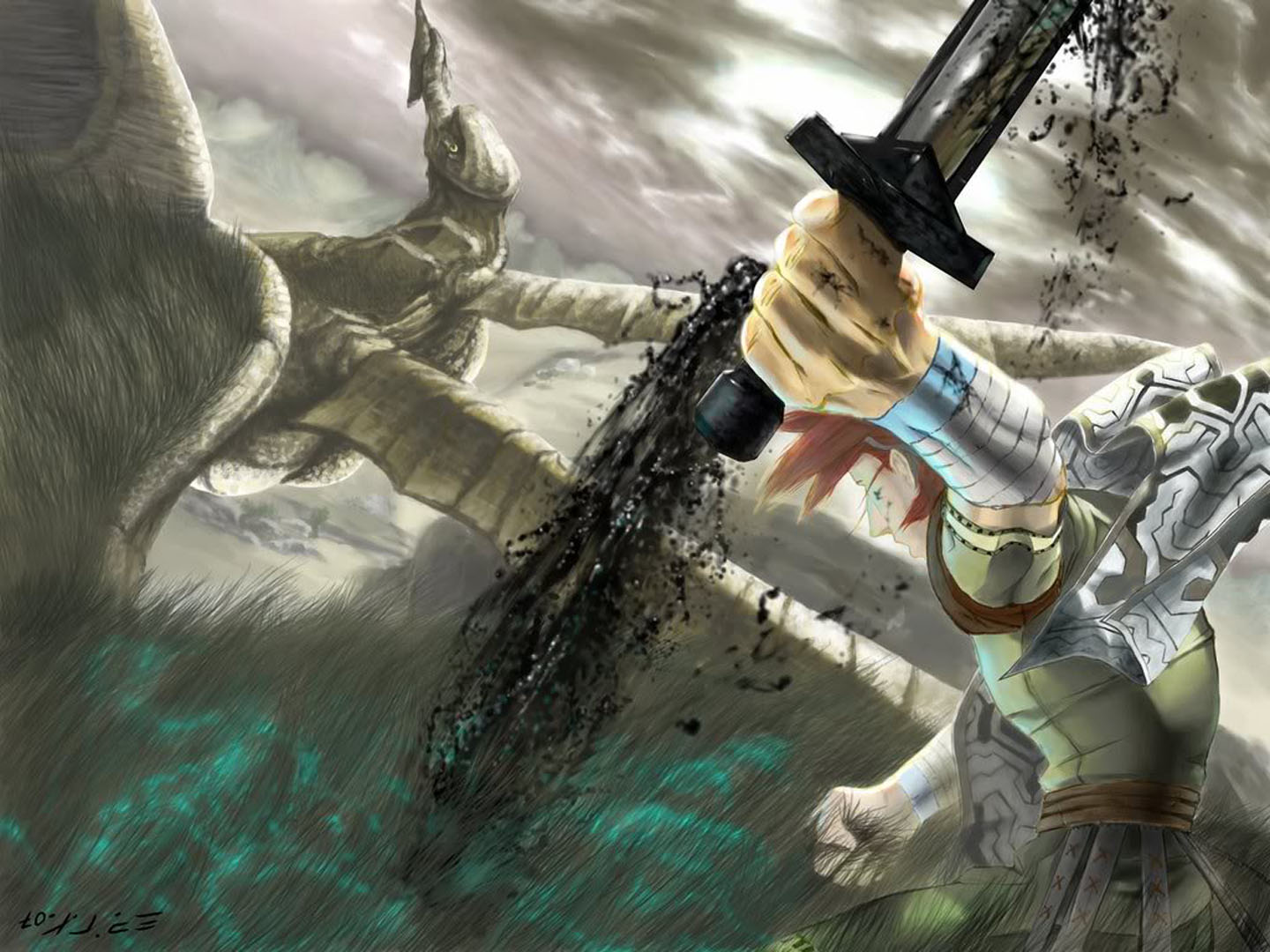 Wander Pulls Bloody Sword From Colossus Shadow Of The Colossus