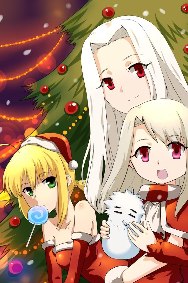 Christmas Anime Wallpaper - Iphone 4s Wallpaper Anime Christmas Girl , HD Wallpaper & Backgrounds